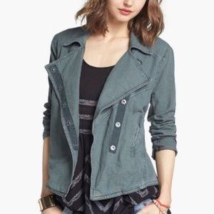 Free People Washed Linen Asymmetrical Moto Jacket